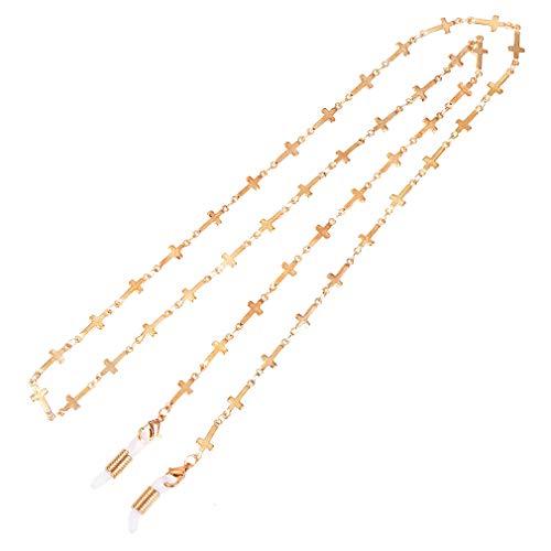 (Eyeglass Chains sunglasses Neck strap Cords Beaded reading glasseschain Holder Lanyards Eyewear Retainer for women (GOLD)