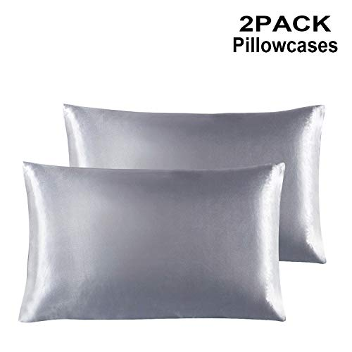YOSICO 2-Pack Satin Pillowcases Set for Hair and Skin, Luxury and Soft Silk Pillowcases with Zipper Closure (Silver Grey, Queen) - Satin Hair Pillowcase