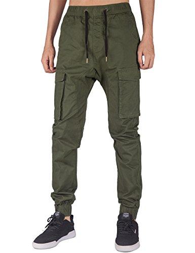 ITALY MORN Men's Jogger Cargo Pants Elastic Waist (Army Green, S)