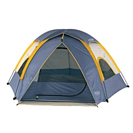 Wenzel Alpine 3 Person Tent 134 3-person, 3-pole pentadome tent with removable fly Shock-corded fiberglass frame for quick and easy setup Integrated mud mat with drainage strip to keep tent clean