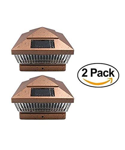 "2 Pack Copper Square 6x6 Solar Powered LED Post Cap Lights PL248 (Copper, fit 6""X6"")"