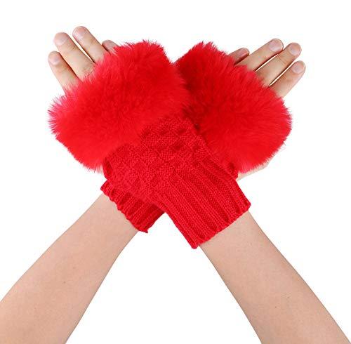 Simplicity Women's Winter Faux Fur Knit Fingerless Mitten Gloves,1485_Red