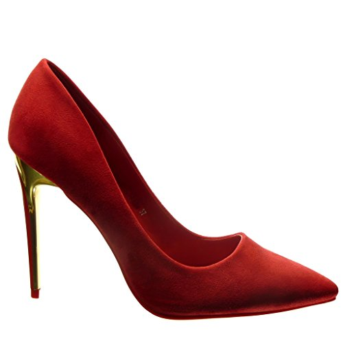 Angkorly - Scarpe da Moda scarpe decollete stiletto sexy donna d'oro Tacco Stiletto tacco alto 10.5 CM - Rosso