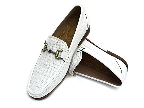 EasyStrider Men's Loafer Shoes – Elegant Silver Metal Buckle - Perfect Business Dress Shoe For Men or Casual Slip-On Loafer For Daily Wear - KM6014-WT-15