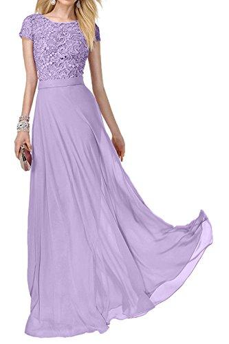 Festlich Abendkleider Charmant Ballkleider Promkleider Lilac Lang Spitze Damen Abiballkleider Kurzarm Rosa CqwgqS