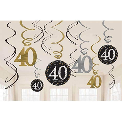 40th Birthday Party Decorations Sparkling Celebration Celebrate 40 in Glitz and Glamour with Our Sparkling Celebration 40 Hanging Swirls Foil Swirl Decorations Party Decor Multicolor One Size, 12ct ()