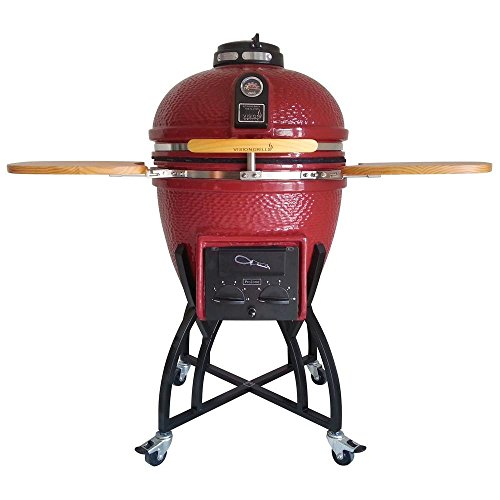 Vision Grills Kamado Professional Ceramic Charcoal Grill in Chili Red with Cover