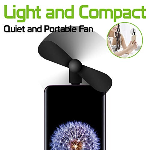 Portable Mini Fan Compatible w/Moto G7 Power and Similar Phones with Type-C Micro USB Charging Port by Cell-stuff (Image #1)