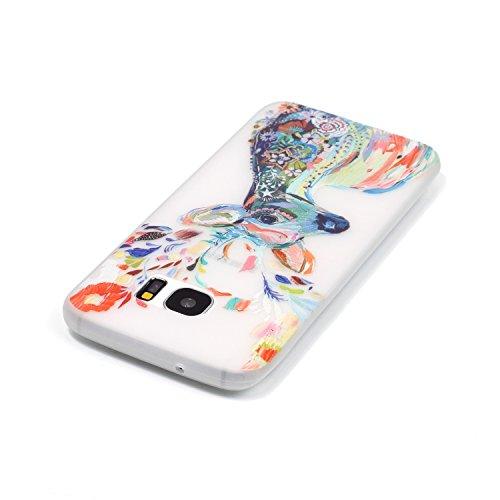 XiaoXiMi Carcasa Samsung Galaxy S7 Funda Luminosa de Silicona Caucho Gel para Samsung Galaxy S7 Soft TPU Silicone Case Cover Carcasa Protectora Funda Blanda Suave Flexible Caja Delgado Ligero Casco An Ciervos Acuarela
