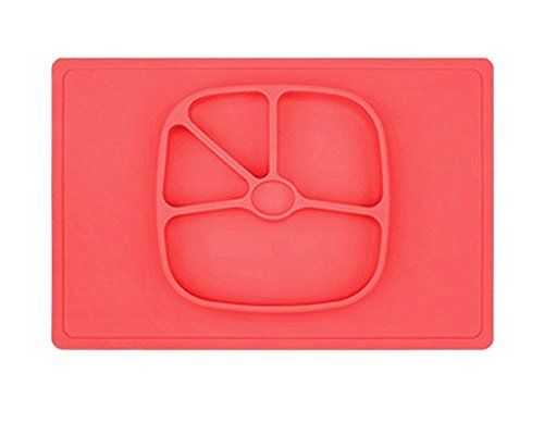 LLZJ Babies Silicone Suction Bowl Suction Stay Put Separate Placemat Anti-Fall Tableware Dishes Feeding Children's Toddler Antidérapant Training,Pink by LLZJ