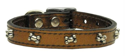 - Mirage Pet Products Metallic Bone Leather Bronze Dog Collar, 20