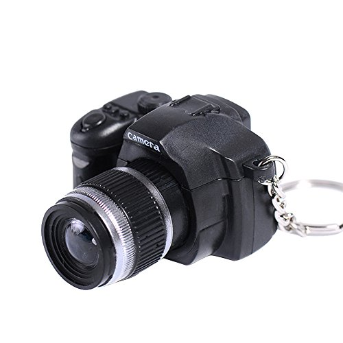 Vibola Camera Bag Keychain with Flash Light Sound Effect,Charm Mini LED Cute Cartoon Key Holder for Children Designer Key Ring for Kids Christmas Thanksgiving Keyfob Toy Gift (Black)