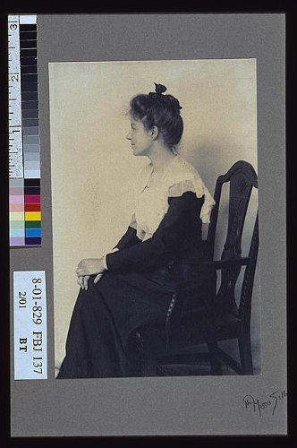 Photo: Profile, woman, chair, hands, knees, lace collars, dresses, Misses Selby, New York, c1900 . S