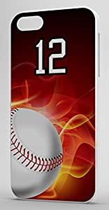 Flaming Baseball Sports Fan Player Number 12 White Plastic Decorative iphone 4s Case