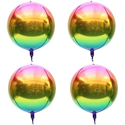 Rainbow Ombre Balloons 4pcs Hangable 4D Foil Balloon Round Sphere Aluminum Mylar Balloon 16