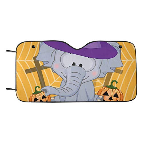 InterestPrint Halloween Cartoon Elephant Pumpkin Auto Windshield Sun Shades UV and Sun Protection for Your Vehicle -