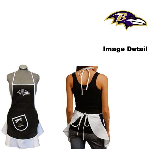 Baltimore Ravens NFL Team Logo Sports Fan BBQ Barbeque Cook Grill Home Outdoor Indoor Tailgating Picnic Woman Lady Girl Hostess Apron by LA Auto Gear