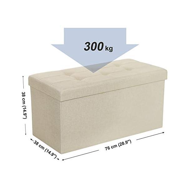 SONGMICS Banc avec Espace de Rangement, Siège, Coffre de Rangement, Repose-Pieds, Pliable, Capacité de Charge 300 kg, 80 L, 76 x 38 x 38 cm, Imitation Lin, Beige LSF47BE
