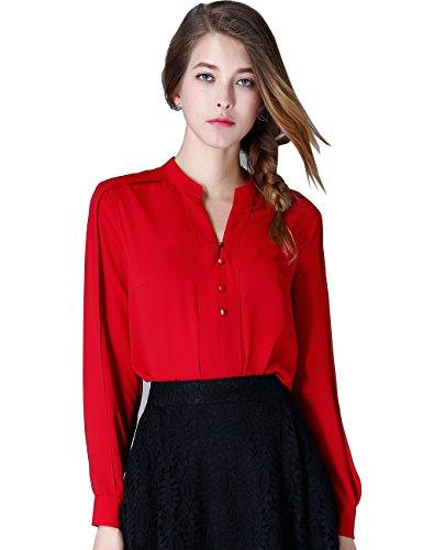 Olisi Women Chiffon Blouse Long Sleeve Button Down Shirt Top (XL, Red) by OLiSi