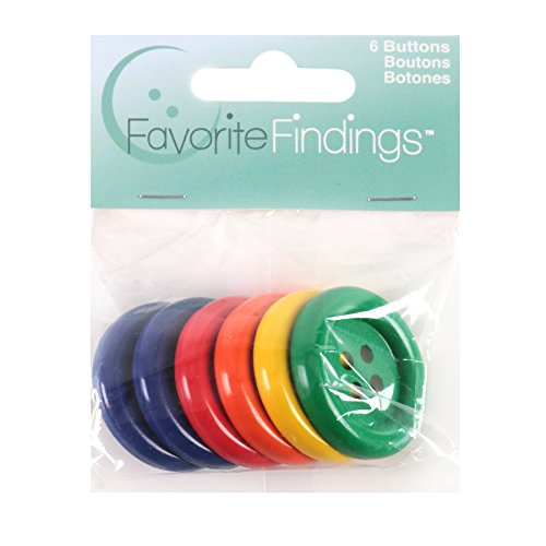 Blumenthal Lansing Larger Round Buttons, 6 Pack All One Size and Style, Colors Included Blue, Red, Orange, Yellow and Green
