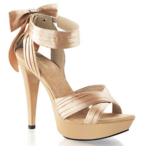 Fabulicious - Sandalias de vestir de satén para mujer Beige Champagner
