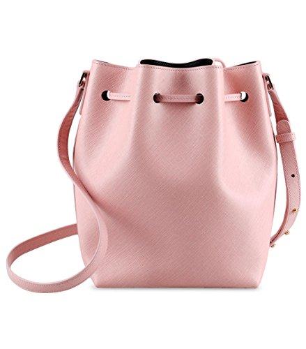 Melkco Fashion Purden borsa secchiello in Cross stile in vera pelle (ciliegio) Venta De Moda tS5ObsGWX