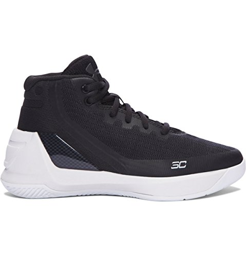 Boy's Under Armour Curry 3 Basketball Shoe Black/White Size 2 M US