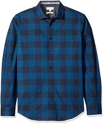 Calvin Klein Men's Slim Fit Long Sleeve Buffalo Check Button Down Shirt