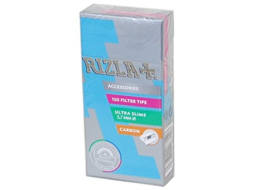 (Rizla CARBON ultra slim 5.7 Cigarette Filter Tips - 4 Packet (activated carbon))