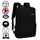 Cheap Business Laptop Backpack with USB Port and Headphone Hole School Bags Travel Packs Student Bookbag Fit 15.6 Inch Laptop Water Resistant Daypack (Black)