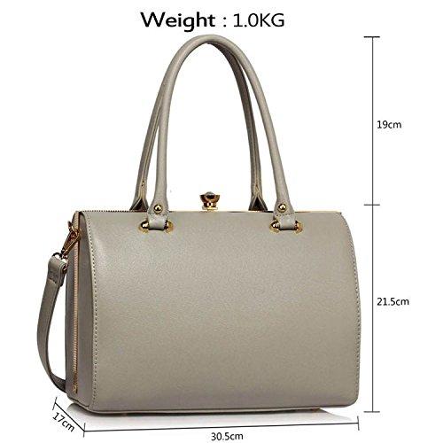 Xardi London barile Frame designer borsone da donna in pelle sintetica borse a tracolla borse UK Grey