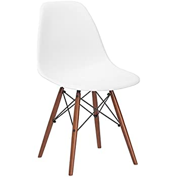 Perfect Poly And Bark Eames Style Molded Plastic Dowel Leg Side Chair With Walnut  Legs,
