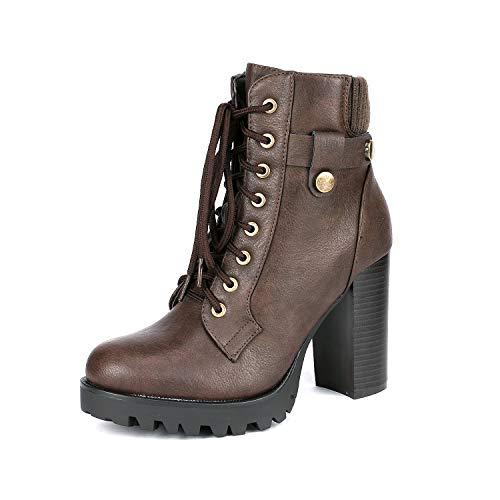 (DREAM PAIRS Women's SCANDL Brown High Heel Ankle Bootie Size 6 B(M) US)