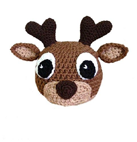 Elee Baby Handmade Crochet Knit Animal Hat Beanie Warm Earflap Photograph Props (#14 Deer) (Deer Costume Kids)