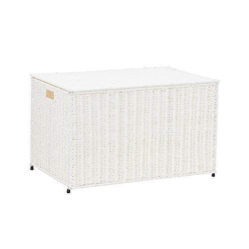 Household Essentials ML-7165 Decorative Wicker Chest with Lid for Storage and Organization | Large | White (Boxes Storage Wicker White)