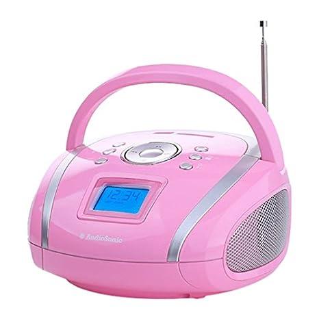 AudioSonic RD-1566 - Radio (Portátil, Digital, FM, 4W, Azul, 700g) Rosa: Amazon.es: Electrónica