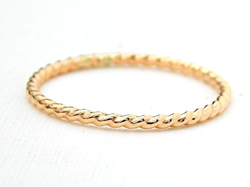 14k Rope Twisted Gold (Gold-filled Simple Twisted Rope Ring: 14K Gold-filled ring, twisted ring, dainty ring, simple ring, stacking ring, skinny ring, small ring)