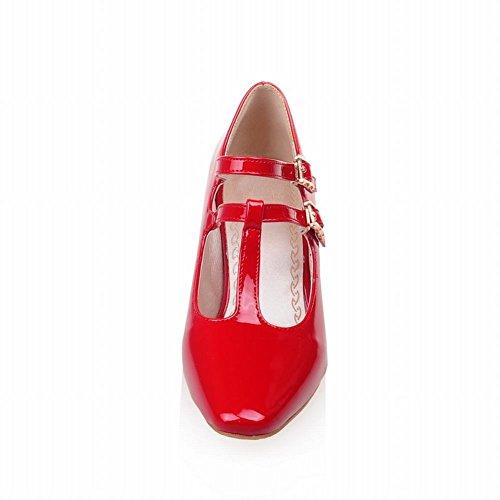 MissSaSa Damen Chunky heel Knöchelriemchen T-Spange Pumps modern und simpel Blockabsatz vierkant Spitze Schnalle Kleidschuhe Rot