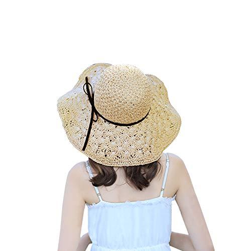 Women Sun Hats Elegant Floppy Ladies Wide Brim Beach Hat Women's Straw Sun Hat Summer Outdoor Cap UPF 50+ - Sun Protective Beige