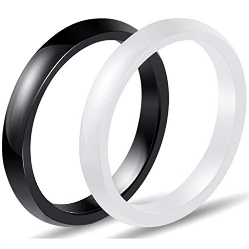 (Two-Pack, 3mm Black White Polished Ceramic Wedding Band Stackable Ring Enhancer (Black White, 9))