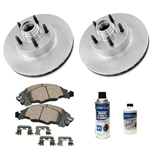 Detroit Axle - 2WD Pair (2) 287mm Front Disc Brake Rotors w/Ceramic Pads w/Hardware & Brake Cleaner for 1995-2001 Ford Explorer - [98-02 Ranger] - 97-01 Mountaineer - [2WD Only] - NO COIL SPRING ()