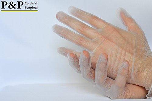 Vinyl Gloves Disposable Medical Exam Powder Latex Free (1 Case= 1000 gloves) X-Large by P&P Medical Surgical (Image #1)