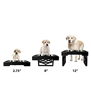 Pet Zone Designer Diner Adjustable Elevated Pet Feeder Raised Dog Bowls Dog Feeding Station Double Bowl Stand Stainless Steel Bowls