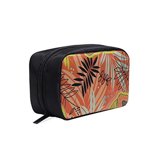 (Tropical Plant Sketch Style Portable Travel Makeup Cosmetic Bags Organizer Multifunction Case Small Toiletry Bags For Women And Men Brushes Case)