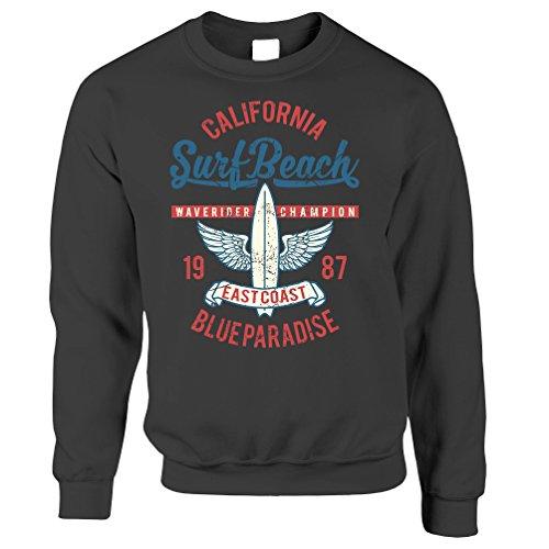 Retro Surfing Sweatshirt California Surf Beach Champion Dark Grey XXL