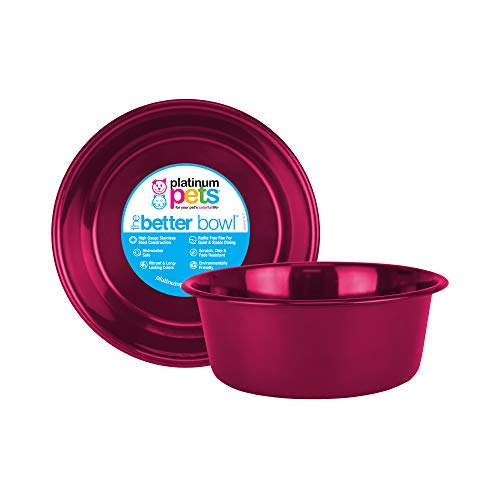 Platinum Pets Heavy Duty Dog/Cat Bowl, 1 Pint, Raspberry Pop, Small