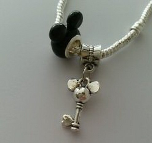 Beads Hut - Disney Mickey Mouse Ears Bead With Dangle Charm For Eurpean Style Bracelet Black (Geek Costume Accessories)
