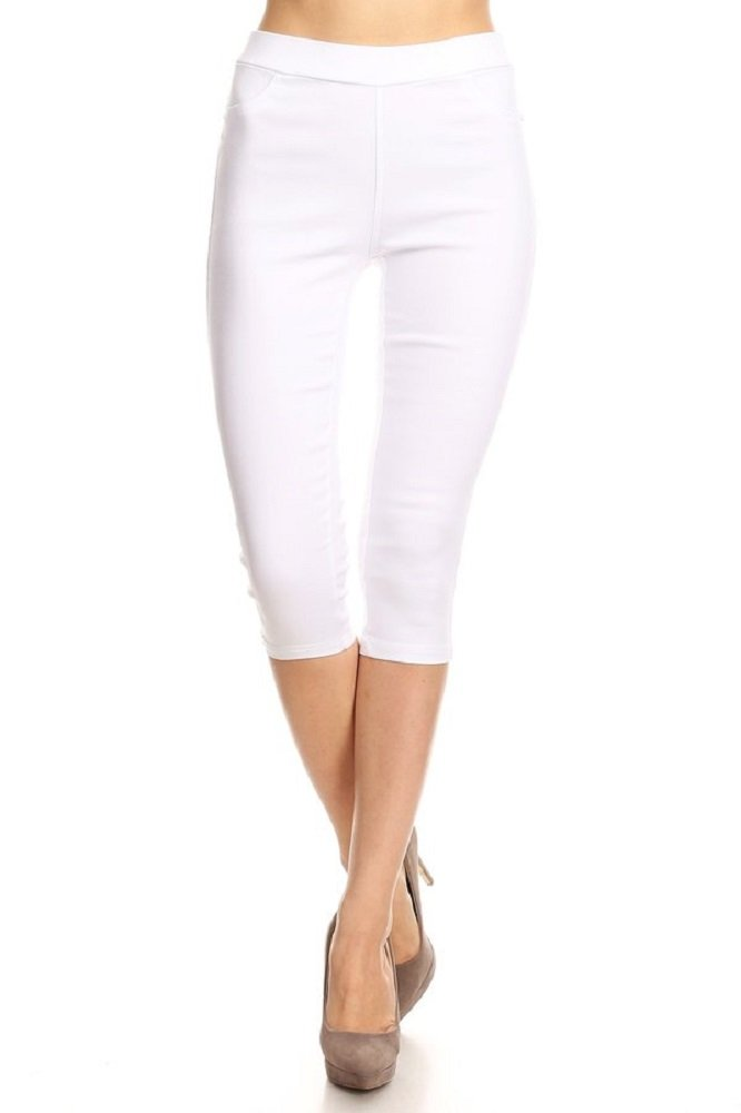 Jvini Women's High Waist Pull-On Skinny Super Stretchy Jeggings & Capris Regular & Plus Size (Large, White Capri)