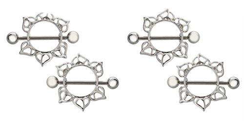 BODYA Silver Tone Nipple Ring Bars Lover Heart Dangle Body Piericng Jewelry Pair 14 Gauge Sold As Pair (Two Pairs)