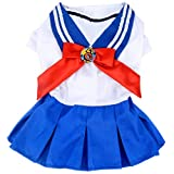 YOTATO Sailor School Uniform Bow Pleated Dress Small Dog Cat Girl Puppy Clothes